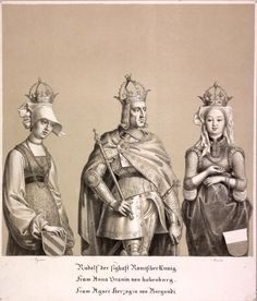 """Rudolf I. mit seinen Gemahlinnen. Portrait together with his consort, Gertrud (= Anna) von Hohenberg (+1281) and Agnes (=Isabella) von Burgundy (+1323) and their coat of arms. Tinted lithograph after by order of the Emperor Maximilian I. verfertigten original paintings, called """"Family Tree of the House of Austria"""" in the Ambras collection, 37x33cm; Below the picture: """"Rudolf the sighaft Romischer Kunig / Fraw Anna Grauin of hohenburg / Fraw Agnes.. duchess of Burgundi."""""""