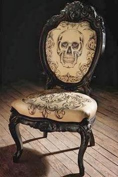 "DIY Halloween Skeleton Skull Chair | A Fun Upcycle for a ""Ruined"" Chair - Southern Revivals"