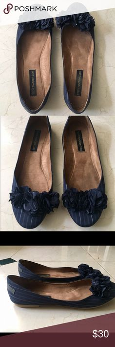 Steve Madden Luxe Striped Flats Gently used. Comfortable insoles. Pretty flower detail on the front. Steve Madden Shoes Flats & Loafers