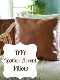 DIY Leather Accent Pillow - Great home decor craft! {The Love Nerds} #leathercraft #pillow #homedecor