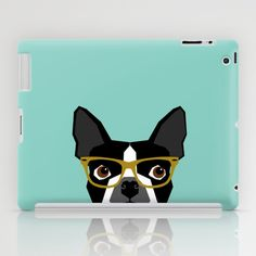 Darby - Boston Terrier pet design with hipster glasses in bold and modern colors for pet lovers iPad Case