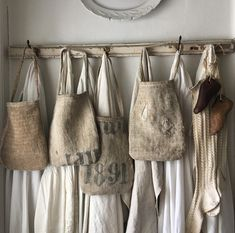 🌿Original Handmade Primitive Goods🌿 by handwerk Farmhouse Aprons, Grain Sack, Linen Bag, Linens And Lace, Primitive Crafts, Fabric Bags, Tote Bags, Shabby Chic, Trending Outfits