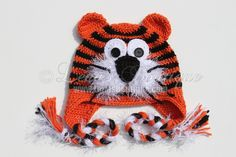Crochet Tiger Hat  Pumpkin / Black for Boy or Girl - size Newborn -  5T   - Ready To Ship in size 2T-3T. $30.00, via Etsy.