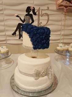 Quinceanera 15 birthday cake with girl silhouette and rhinestones navy blue and . - Quinceanera 15 birthday cake with girl silhouette and rhinestones navy blue and … 18th Birthday Cake For Girls, Girly Birthday Cakes, 15th Birthday Cakes, Happy Birthday Wishes Cake, Beautiful Birthday Cakes, 15 Birthday, Silhouette Cake, Girl Silhouette, Teen Cakes