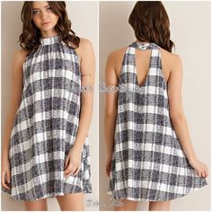 Fun plaid dress Plaid dress features a mock neck and key hole back detail. The dress is fully lined. 97% polyester 3% elastase. Price is firm unless bundled. S(2/4) M(6/8) L(10/12) Dresses