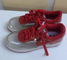 507e28452c2 Nike Air Force 1 I Premium Invisible Clear Red Sneakers Shoes sz US Unisex  5Y