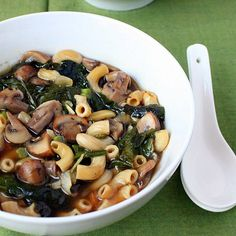 Cremini Mushroom Rainbow chard Shallot soup with elbows pasta. browned mushroom broth with herbs, black pepper. Vegan Soy-free Recipe. Easily Gluten-free