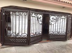Home interior security gate, blocking off unwelcome guests from BR's Concrete Fence Wall, Metal Driveway Gates, Door Gate Design, Wrought Iron Gates, House Doors, Iron Doors, Fashion Room, Exterior Doors, Ideal Home