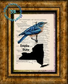 NEW YORK State Black Silhouette, State Bird, State Nickname Art - Beautifully Upcycled Vintage Dictionary Page Book Art Print by CocoPuffsArt on Etsy