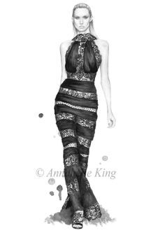 Illustration de mode Elie Saab printemps été 2014 - Limited Edition Print - A4