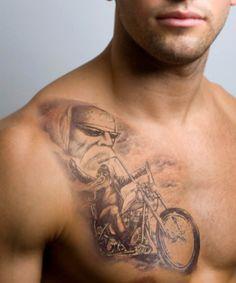 Cool chest biker tattoo