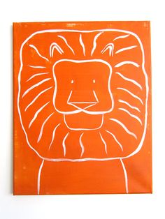 "Modern Kids and Nursery Lion Art Original Painting - 16"" x 20"" on regular 3/4"" depth canvas - The Lion"