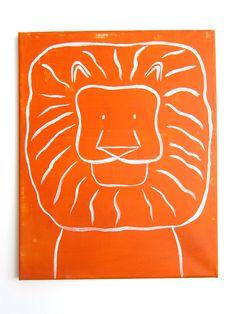 "Modern Kids and Nursery Lion Art Original Painting - 16"" x 20"" on regular 3/4"" depth canvas - The Lion"