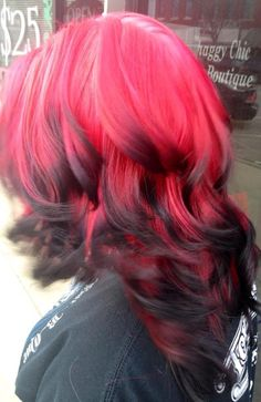 bright red hair with black tips