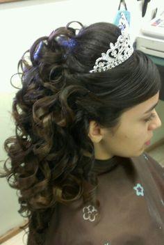Quincenera curls updo style