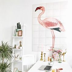 Greater Flamingo from € - Official IXXI ® store Pictures For Kitchen Walls, Kitchen Artwork, Kitchen Decor, Modern Wall Decor, Diy Wall Decor, Home Decor, Greater Flamingo, Flora, Flamingo Decor