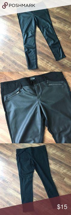 Black Pleather Stretchy Skinny Pants Smokin' hot stretchy black pleather front and black skinny pants. Like new. Mossimo Supply Co. Pants Skinny