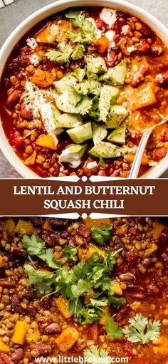 Warm up with a bowl of this hearty veggie chili. Packed with nutritional all-star lentils and fiber high butternut squash. This chunky and belly warming bowl of comfort food is perfect to enjoy throughout the week. It freezes well too! Healthy Recipes On A Budget, Quick Dinner Recipes, Healthy Cooking, Healthy Foods, Cooking Recipes, Veggie Soup Recipes, Butternut Squash Chili, Veggie Chili, College Recipes