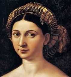 La Fornarina aka: Portrait of a Young Woman Raphael (aka; Raffaello Sanzio da Urbino, Raffaello, Raphaello) 1518-19 Oil on Wood 33.5 × 23.6″ (85 × 60cm) Rome, Italy Italian Renaissance