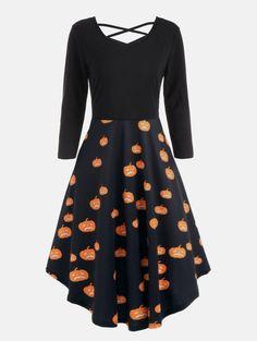 9279e5ff46 Halloween Pumpkins Cats Print Plus Size Flare Dress
