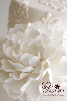Gorgeous! White on White - Made to Order Couture Clay Peony Cake Flower by dkdesignshawaii