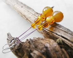 Jade drop earrings amber yellow jade & murano glass by kapelusznik, $21.70