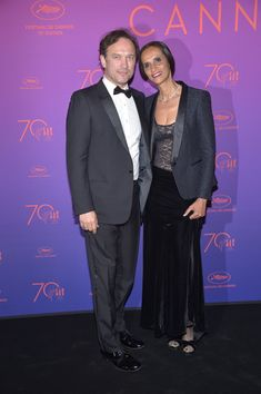 Vincent Perez and Karine Silla attend the Opening Gala Dinner during the 70th annual Cannes Film Festival at Palais des Festivals on May 17, 2017 in Cannes, France.