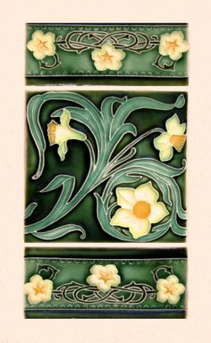 Art Nouveau style ceramic tiles on a shopfront at ~282 Cuba St, Wellington, New Zealand.