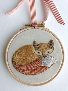 Metalwork Embroidery Fox Kit от BeckyHoggEmbroidery на Etsy