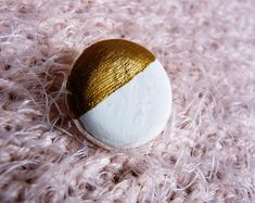 Cute little white and gold concrete pin Little White, Concrete, Trending Outfits, Unique Jewelry, Handmade Gifts, Gold, Etsy, Vintage, Kid Craft Gifts