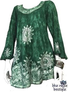 Green Batik Tie Dye Embroidered Bell Sleeve BoHo Gypsy Soul Tunic Blouse Top #HandmadeinIndia #Tunic #Casual