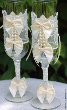 """Buy Wedding glasses champagne Glasses """"ivory"""" - glasses, glasses for wedding"""