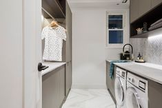 The Block 2018 Kerrie and Spence's Hallway and Laundry Laundry Room Appliances, Home Appliances, Laundry Doors, Laundry Tips, Sink Shelf, Laundry Design, Hanging Clothes, Can Design, Glass House