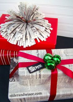 older and wisor: Pimping Yo' Presents Tip #2: Use what you've got gift wrap - easy to follow directions for Pom Pom made of newspaper strips!