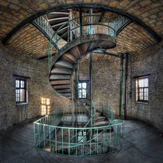 Neat spiral stairway in an abandoned German military compound not far from Berlin.