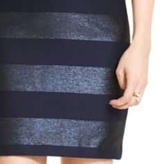 Tommy Hilfiger stripe jacquard pencil skirt. 💲PRICE IS FIRM💲Brand new without tags. Never worn or washed. Back slit is still stitched together as seen in photo. Navy and metallic blue striped pencil skirt by Tommy Hilfiger. Back hidden zipper. Fully lined. Classic fit. Beautiful skirt, perfect for the Holidays.                                                                                       🚫TRADES🚫PP🚫MERCARI🚫 Tommy Hilfiger Skirts Pencil
