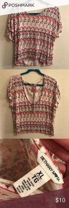 Colorful Aztec Print T-Shirt, XL Bethany Mota for Aeropostale. Never worn. Really pretty shades of pinks. Great for summer concert, festival, etc. Light and soft fabric. 23 inches shoulder to hem. Aeropostale Tops Tees - Short Sleeve