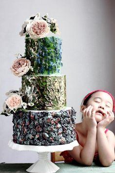 ABSTRACT ART WEDDING CAKE by Jessica MV - http://cakesdecor.com/cakes/210228-abstract-art-wedding-cake