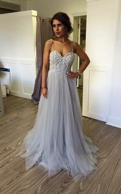 Sexy Straps Prom Dresses, Beading prom Dress,Tulle Prom