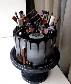 The Groom's Cake - A Brief History & Inspiration — Marrygrams // Bourbon and chocolate are the groom's cake version PB & J. Add tiny bottles of Jack to really get the party started. Birthday Cake For Him, Birthday Parties, 80th Birthday Cake For Men, 21st Party, 21st Birthday, Birthday Ideas, Oreo Cake Recipes, Chocolate Oreo Cake, Chocolate Bourbon