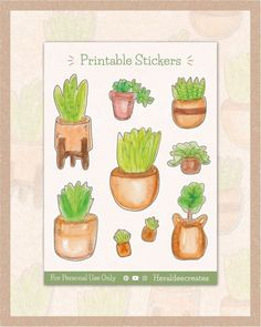 Add a pop of greenery to your spreads with these aesthetic Potted Plants Stickers! These stickers are created using the loose watercolor technique and are perfect to create an effortless look for your journal.  #succulent  #watercolorillustration #plants #stickers #printable