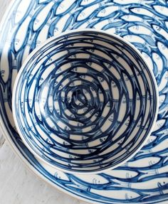Blue & White Fish Design Bowl & Saucer ~ by Tinam Otta ....