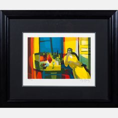 LOT 8 MARCEL MOULY Marcel Mouly , (1918-2008) - Interieur a la Femme en Jaune, 1989, Medium: Lithograph, Dimensions: H: 8 3/4 W: 13 1/4 Est: $80-120 With Certificate of Authenticity. Signature Signed lower right and numbered 77/300 lower left in pencil.