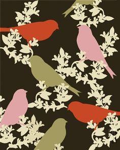 birds- pared de colgadura