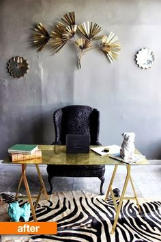 All that glitters is not gold, but this IKEA customization project is DIY treasure in my eyes for its affordably ingenious transformation of a Swedish modern piece customized into a glamorous Hollywood Regency inspired desk...