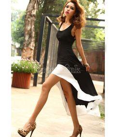 Lady Deep U Neck Bare Back Backless Long Hem Tank Swallow Tail Sleeveless Party SUMMER Cocktail Dress #dress #womensclothes #fashion
