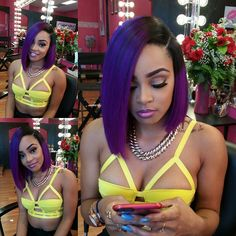 I love this purple bob! #hairbymswilla