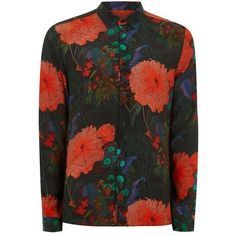 TOPMAN Green Garden Floral Shirt ($47) ❤ liked on Polyvore featuring men's fashion, men's clothing, men's shirts, men's casual shirts, men's flower print shirt, mens long sleeve shirts, mens extra long sleeve shirts, mens floral print shirts and topman mens shirts