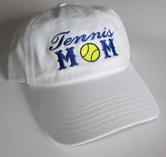 Custom embroidered hats / caps, Tennis MOM by CreativeSenseCom on Etsy