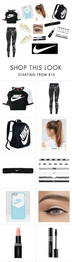 """""""Back To School Outfits #14: JUST DO IT!!!!!"""" by gussied-up ❤ liked on Polyvore featuring NIKE, Smashbox and Christian Dior"""